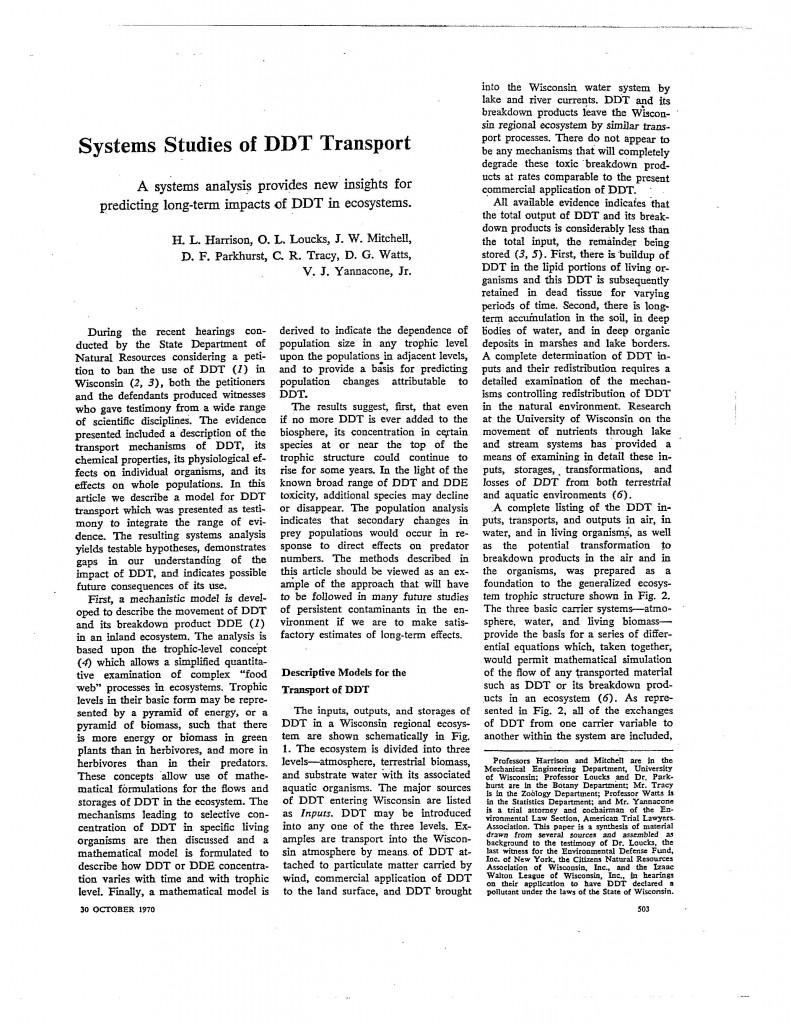 Systems-Studies-DDT-Transport, 170 Science 503, 30 October 1970